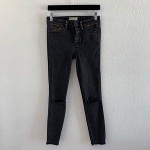 Free People Black Stud Skinny Jeans